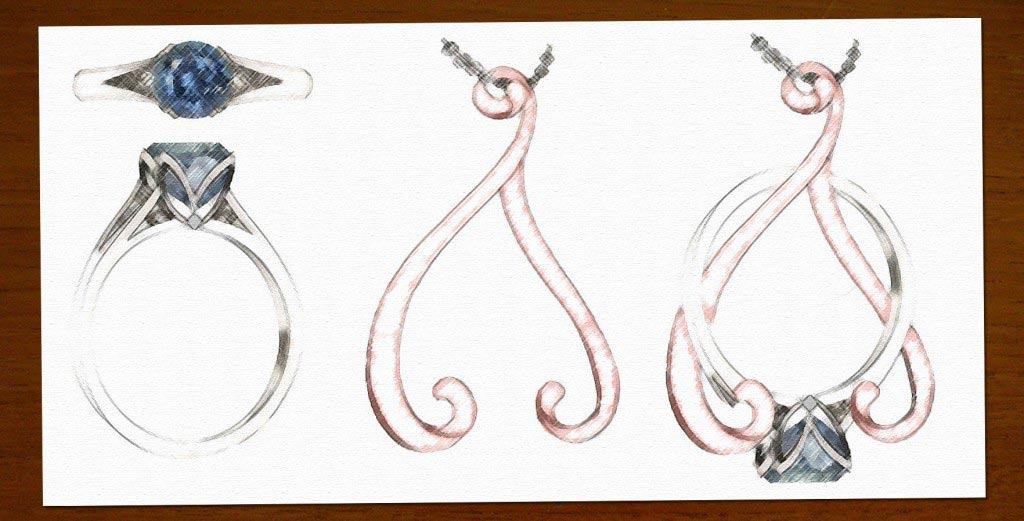 Initial sketches by Green Lake designer and jewelry, Amber Worley.