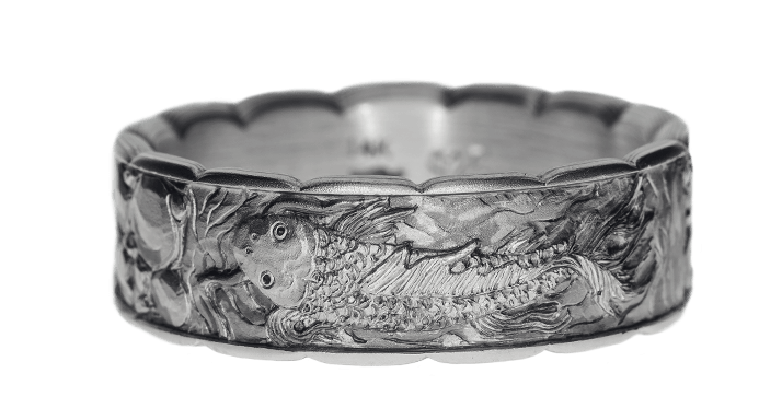 Relief engraved mokume & rose gold inlay koi band