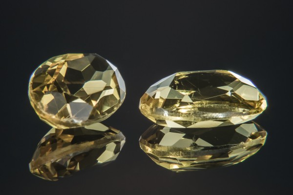 Pictured above are a pair of 2ct, oval-cut heliore. The largest cut heliodore, on display at the American Museum of Natural History, is internally flawless and weighs 2054ct.