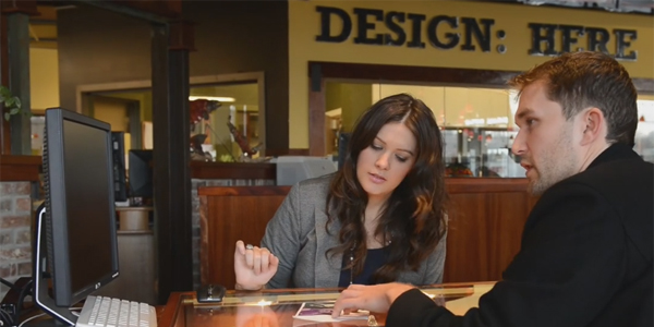 Green Lake Designer Krista Robertson collaborating on a custom engagement ring for Ryan & Jess.