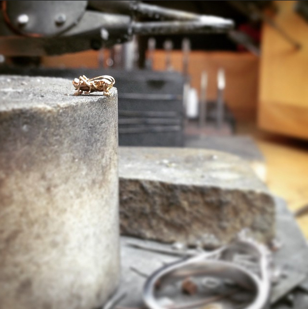 Grasshopper at the jeweler's bench prior to fabrication. Photo credit @Sungwoo_Eric_Hong