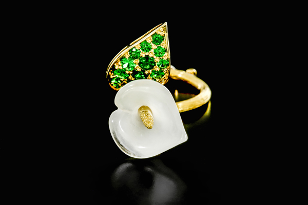 "Fairmined gold ring, ""The Trembling Lily"", features untreated yellow diamonds, tsavorite garnets, hand carved moon quartz and a touch of recycled platinum."