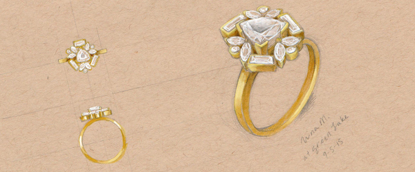 Real custom rings always start out as a sketch, where never-been-done-before ideas come to life.