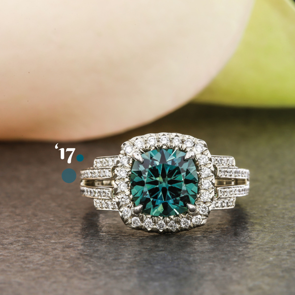 Art Deco Teal Engagement Ring